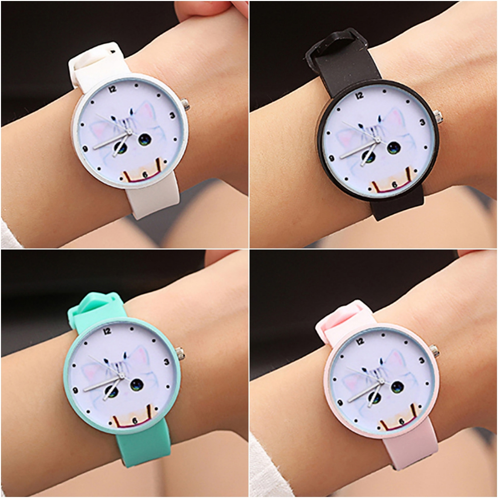Drop Shipping Beautiful Girl Cat Face Style Black Color Digital Dial Children Students Clock Girls Rubber Kids Quartz Watches #7