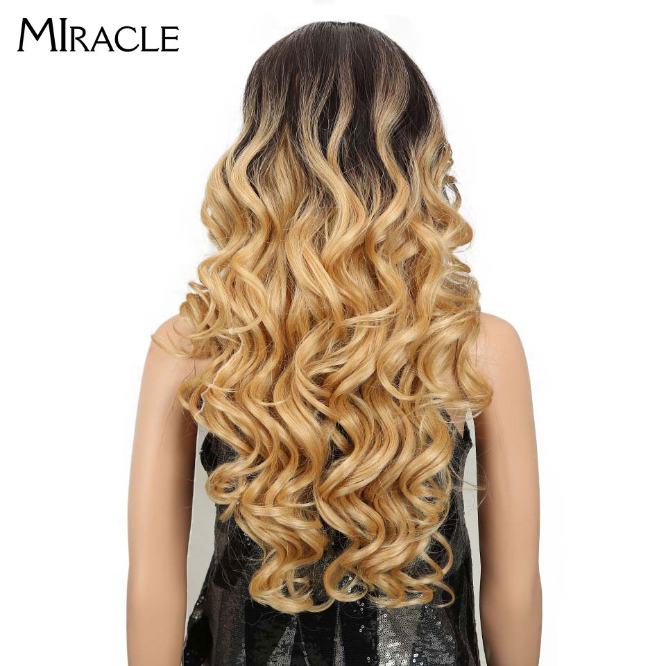 Miracle Long 24Inch Loose Wavy Hair ombre blonde Color Wavy Wig High Temperature Fiber Synthetic Lace