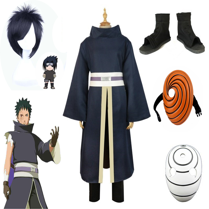 Anime Naruto Costume Uchiha Obito Cosplay Costume Akatsuki Mask Man Tobi Cloak Suit Clothes Shoes Halloween Party Mask Clothes