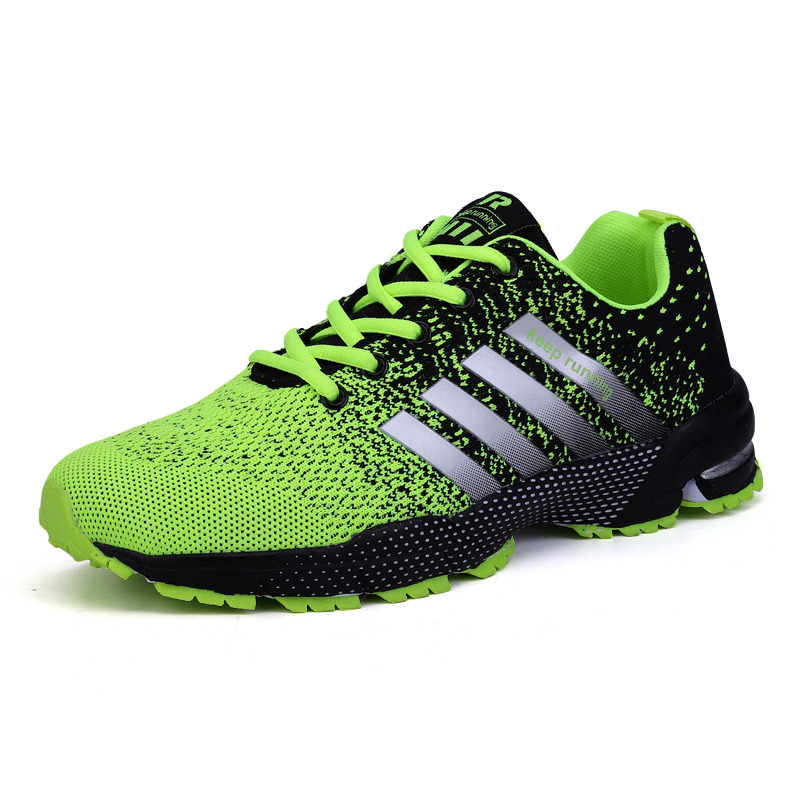 Big Size Green Breathable Cheap Running Shoes Men Flyknit Red Outdoor Marathon Sneakers Lightweight Keep Running Men Sport Shoes