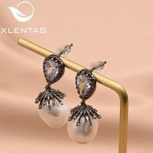 XlentAg 925 Silver Ear Pin Natural Fresh Water Baroque Pearl Drop Earrings For Women Wedding Dangle Fine Jewelry GE0334