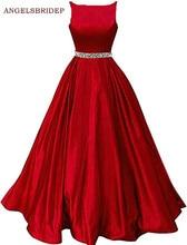 ANGELSBRIDEP Boat-Neck Long Evening Party Gowns Vestidos de festa Formsal Beading Waist Floor-Length Abendkleider Prom Dresses