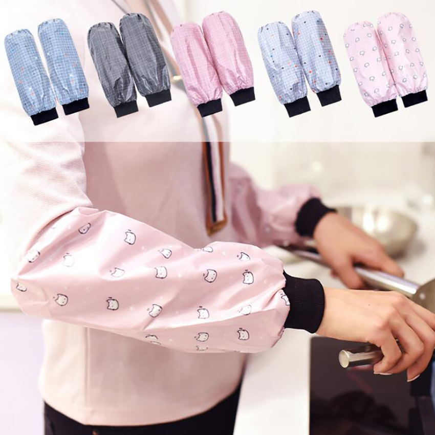 1 Pair Waterproof Oilproof Arm Sleeves Covers Elastic Cuff Oversleeves Cleaning Protective Sleeves Kitchen Tool, Polyester