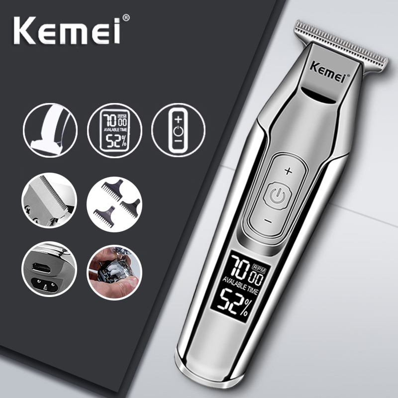 Kemei Hair Clipper LCD Digital Display Electric Shaver Mens Razor Cordless Haircut Machine 0mm Baldheaded Beard Hair Trimmer 35D