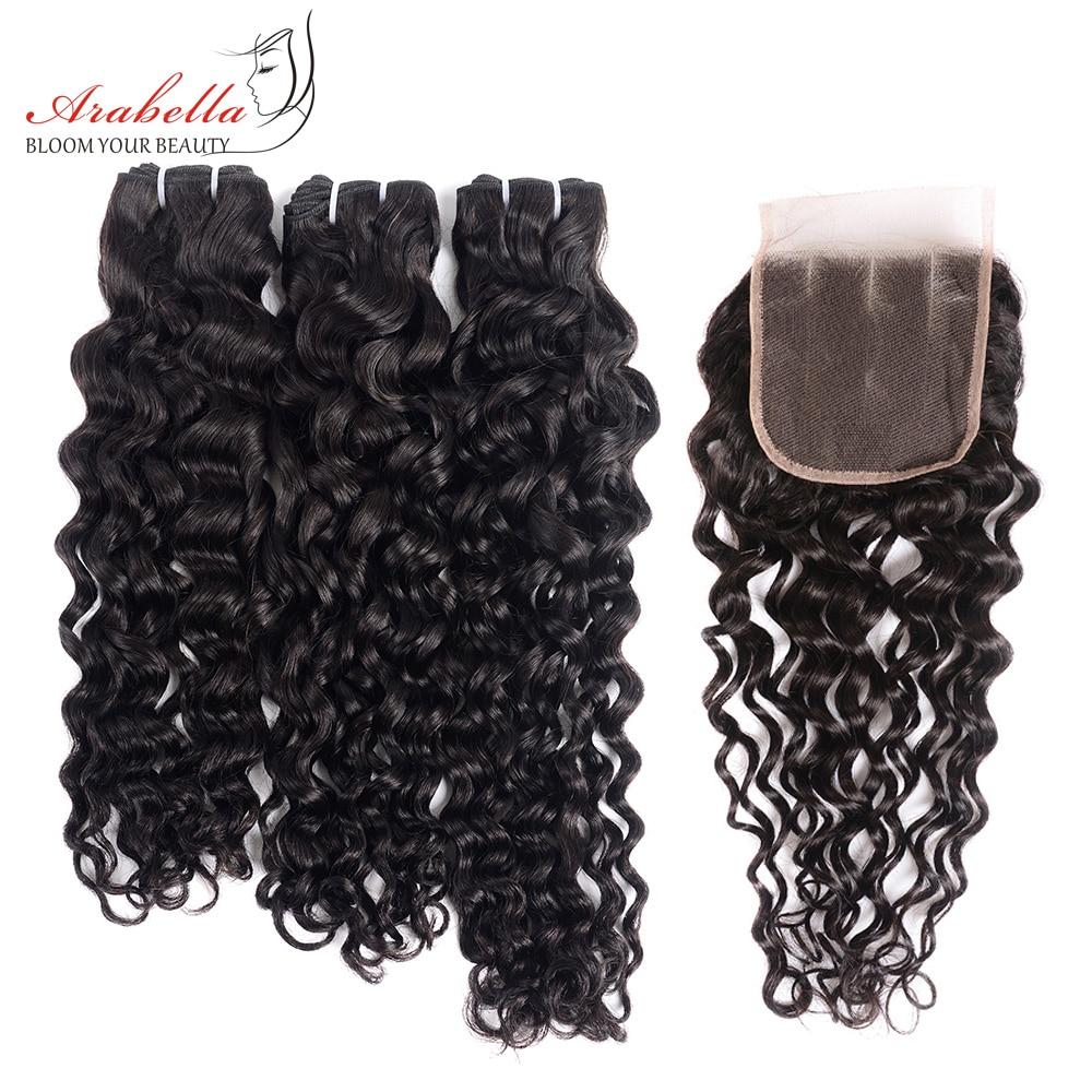 Super Double Drawn Water Wave Hair Bundles With Closure Pre Plucked Bleached Knots Arabella Virgin Hair  Bundles 1