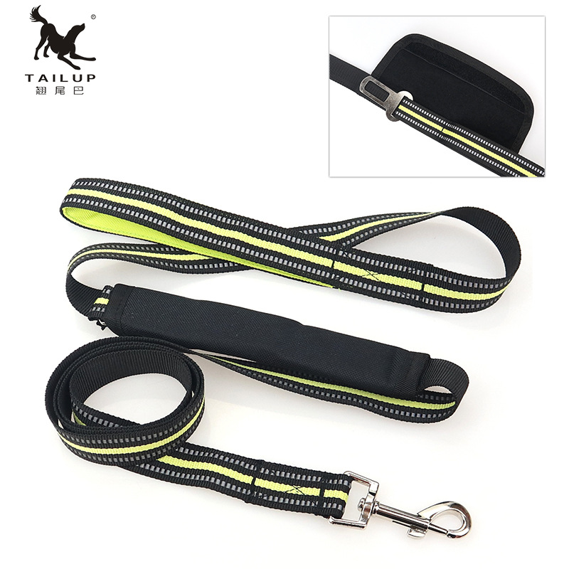 Multi-functional Reflective Tape Pet Traction Rope Dual Purpose Variable Dog Automobile Safety Belt Large