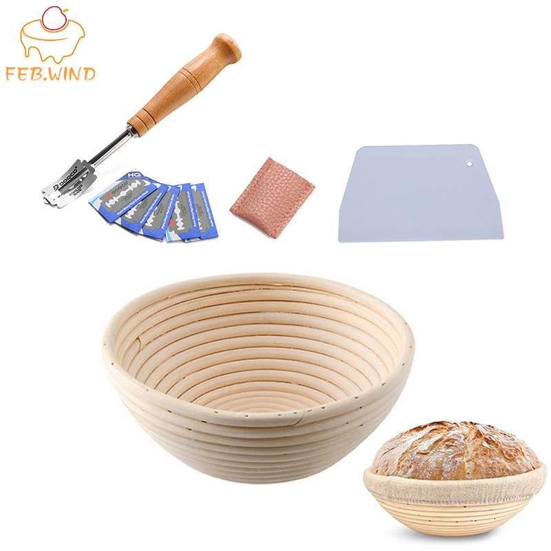 Bakery Tools Set Bread Proofing Basket And Bread Lame Toos And Dough Scraper  Include 5pcs Blades Sourdough Basket Bannet    704