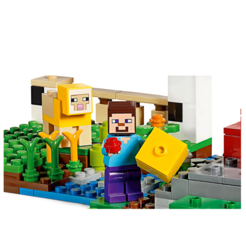 The Wool Farm Building Blocks With Steve Action Figures Compatible LegoINGlys MinecraftINGlys Sets Toys 21153 5