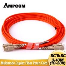 AMPCOM SC to SC Fiber Patch Cable Multimode Duplex - 50/125um OM2 - SC/UPC to SC/UPC