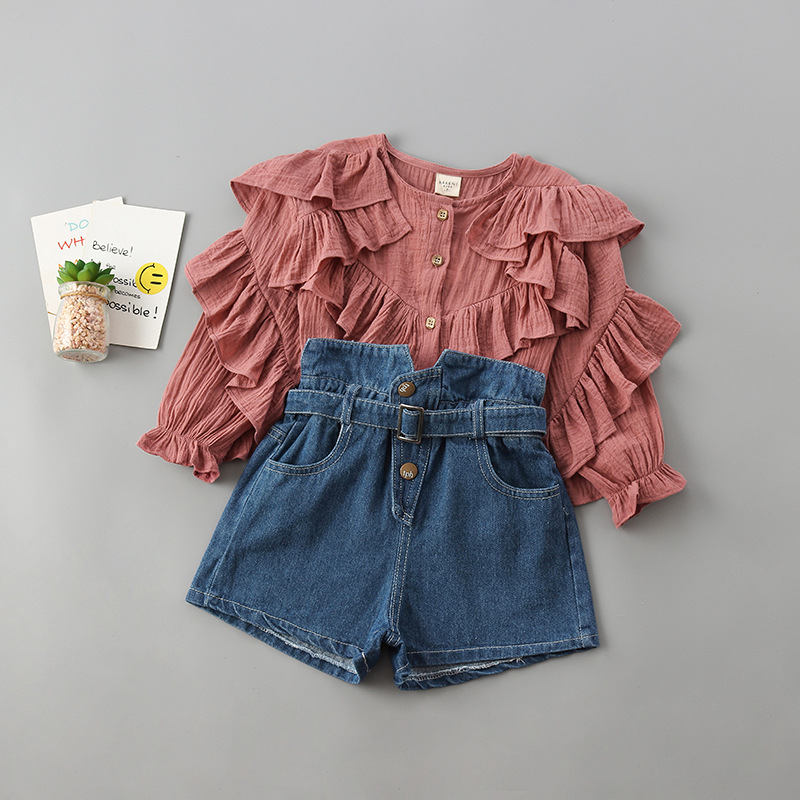 2-7 Years High Quality Girl Clothing Set 2020 New Autumn Fashion Tiered Ruched Solid Shirt + Denim Pant Kid Children Clothing