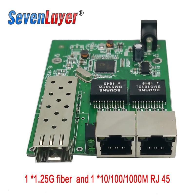10/100/1000M Gigabit Media Converter 1 Sfp 2 Rj45 Gigabit Optical Fiber Ethernet Fiber Optic Switch For Ip Camera