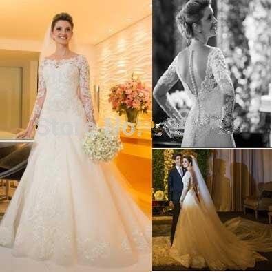 Long Sleeve Lace See Through Back Vestido De Novia 2018 Beading A-Line Sexy Vestidos De Casamento Mother Of The Bride Dresses