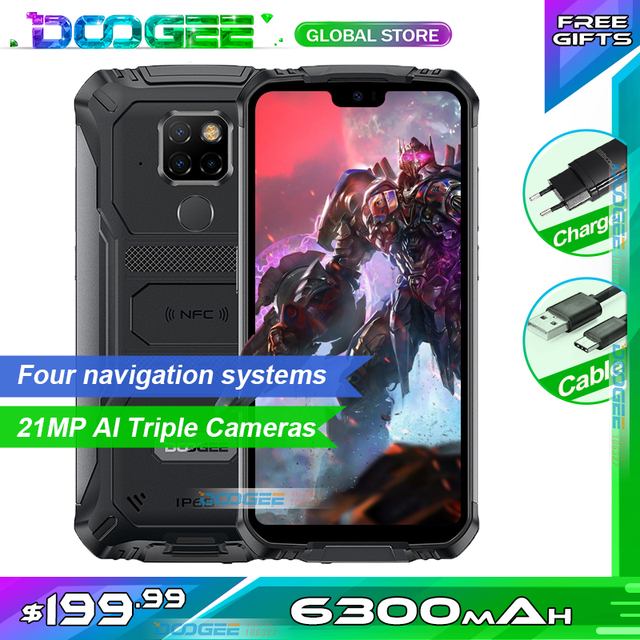"IP68 Doogee S68 Pro Rugged Phone Helio P70 Octa core 6GB 128GB 21MP+8MP+8MP 5.84"" IPS Display 6300mAh 12V/2A Charge Smartphone"