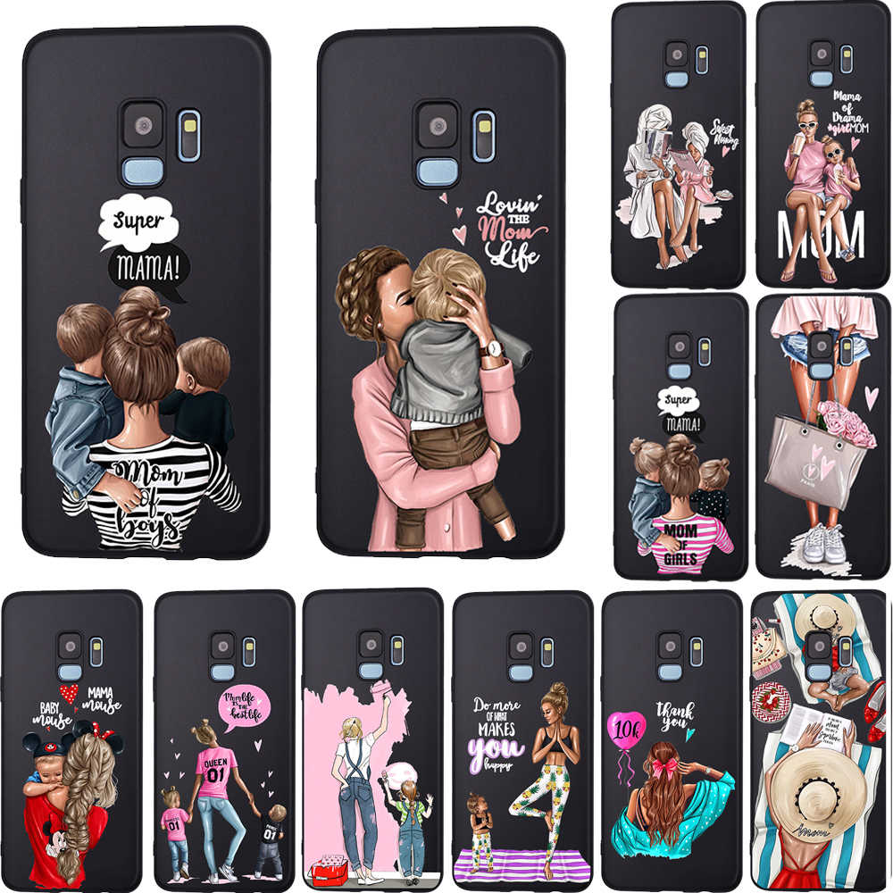 Funda Luxury Girl Mom Boy Baby Mama Mouse  For Samsung Galaxy Note 10 Case A7 2018 A8 A6 A5 2017 A9 J5 S6 S6Edge J2 J3 Silicone