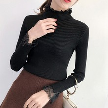 Women Sweaters Lace Patchwork Knitted Pullover Turtleneck Autumn Winter Pullovers NS