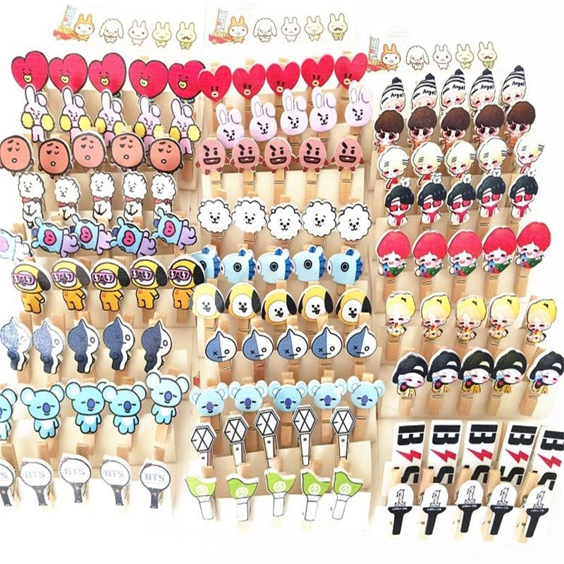10 Sets/lot KPOP BT-21 Cartoon WANNA ONE Wooden Clips JUNKOOK RM SUGA JIMIN J-HOPE JIN Photo Lomo Card Mini Clip With Hemp Rope