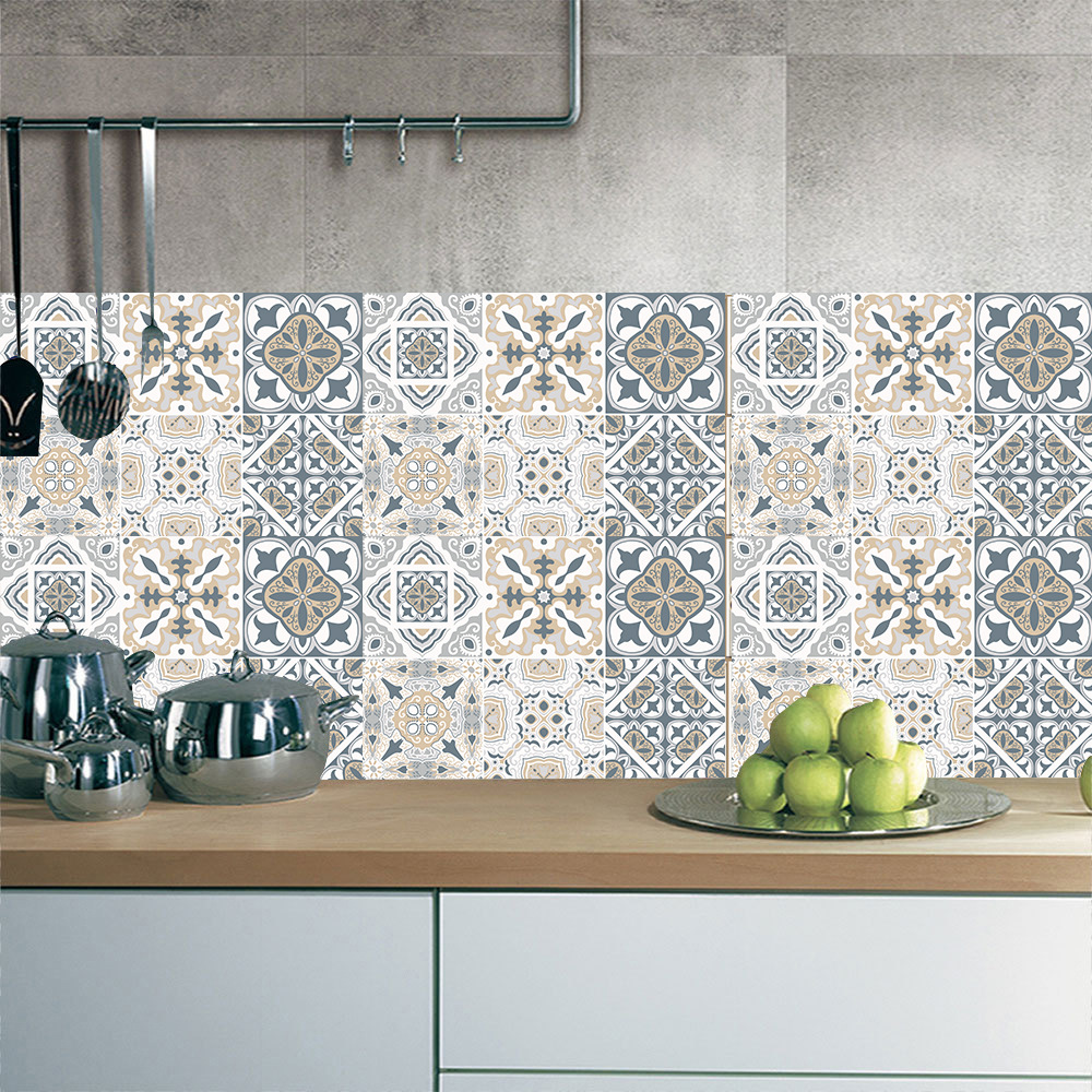 Retro Wallpaper Tile Stickers For Kitchen Bathroom Vintage PVC Vinyl Waterproof Self-Adhesive Wall Stickers Diagonal Wall Tiles