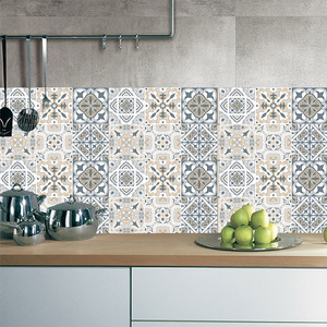 Retro Wallpaper Tile Stickers For Kitchen Bathroom Vintage PVC Vinyl Waterproof Self-Adhesive Wall Stickers Diagonal Wall Tiles