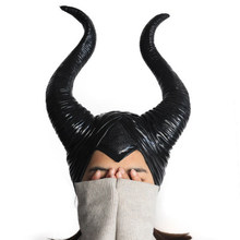 Novo halloween cosplay maleficent bruxa chifres chapéu capacete máscara chapelaria festa preto rainha headwear máscara