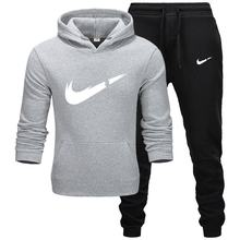New 2019 Brand Tracksuit Men Thermal Sportswear Sets Fleece Thick Hoodie+Pants Sporting Suit Casual Sweatshirts Sport