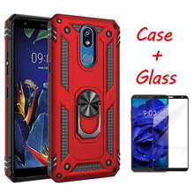 Shockproof Armor Kickstand Phone Case For LG stylo 5 K40 Case+Tempered Glass Magnetic Finger Ring Holder Anti-Fall Soft Cover
