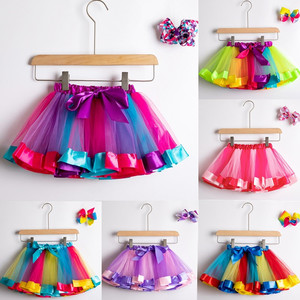 Tutu Skirt Baby Girl Skirts 1 To 8 Years Princess Pettiskirt Party Dance Rainbow Tulle Skirts Girls Clothes Children Clothing(China)