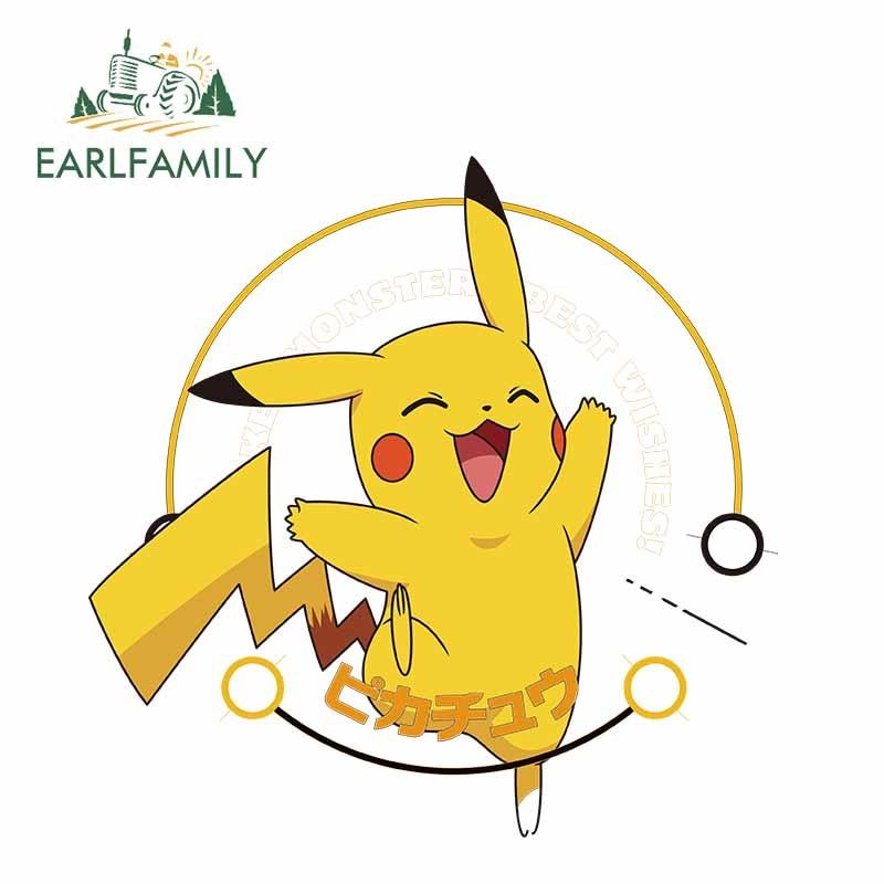 EARLFAMILY 13cm x 12.9cm Pokemon Pikachu Pattern 3D Vinyl Decal Car Stickers Decal for Car Body Cover Decoration Glue Sticker