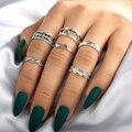 Tocona вырезанные антикварные серебряные цветные винтажные кольца для женщин Панк Мода Бохо набор колец на палец ювелирные изделия аксессуар...