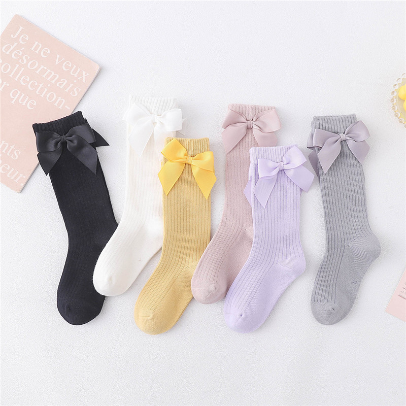 Solid Children Socks With Bows Cotton Baby Girls Socks Soft Toddlers Long Socks For Kids Princess Knee High Socks for Girls 2020 2
