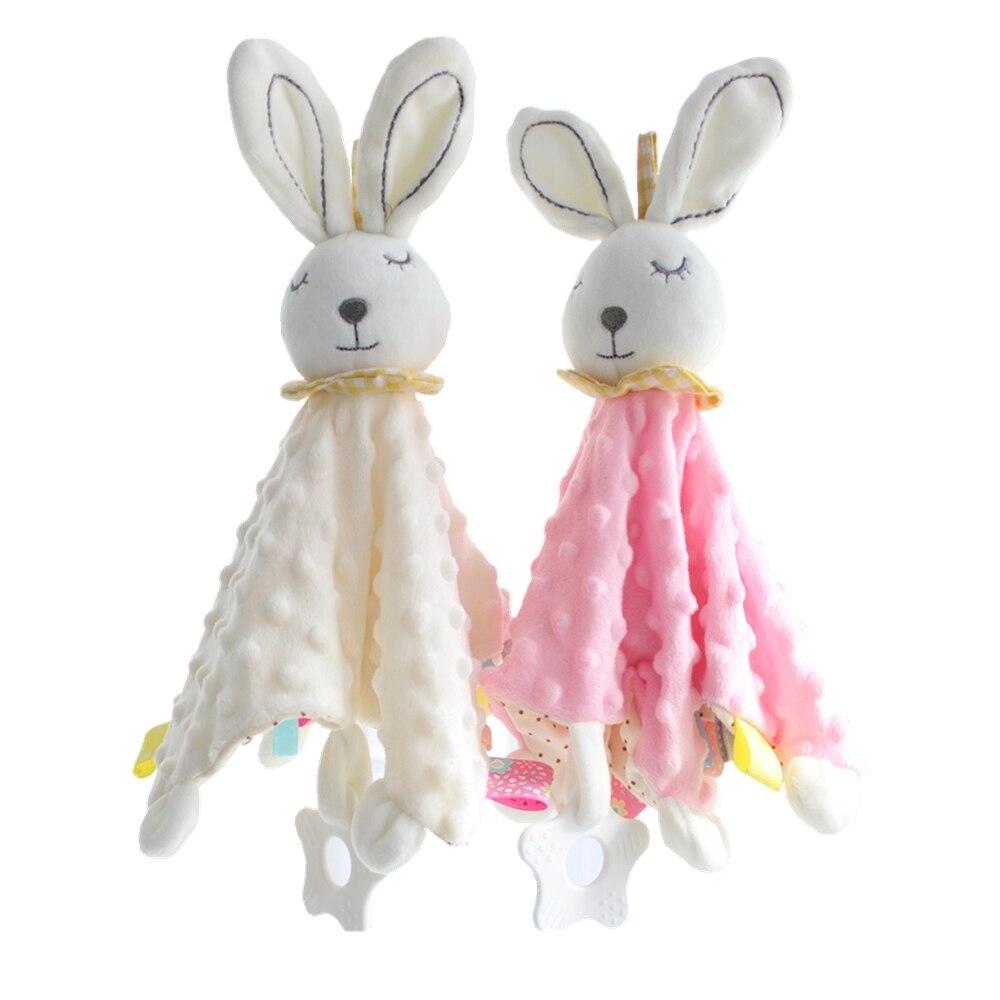 bebe macio calmante toalha acalmar cobertor minky dot coelho seguranca adoravel presente coelho pacificar toalha recem