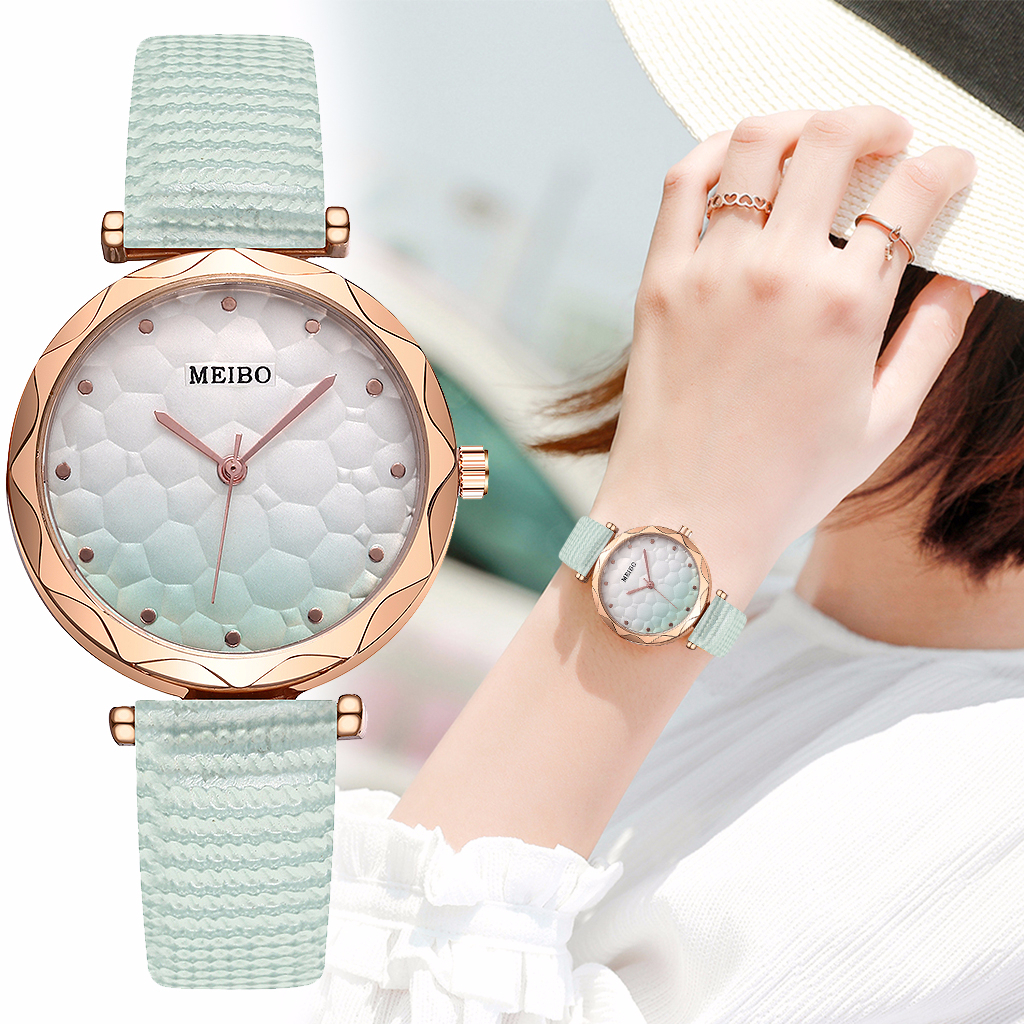 Hot Sale Women Candy Leather Gradient Color Dial Watch Casual Luxury Ladies Quartz Analog Watches MEIBO Clock