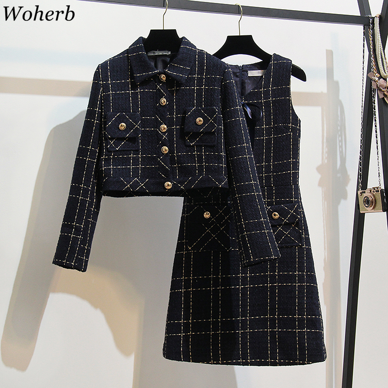 Woherb Vintage Two Piece Set Turn-Down Collar Long Sleeve Short Coat Sleeveless Pocket Midi Dress Autumn Plaid Dresses Sets New