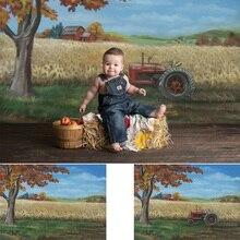 Bauernhof Hand Gemalt Themd Fotografie Hintergrund Neugeborenen Baby Geburtstag Porträt Hintergrund Herbst Ölgemälde Foto Schießen Photocall