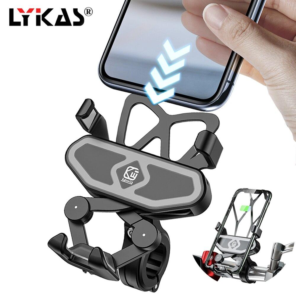 LYKAS Motorcycle Phone Holder Charger Handlebar Phone Mount Gravity Waterproof 360 Degree Rotation Unitersal For Bike ATV