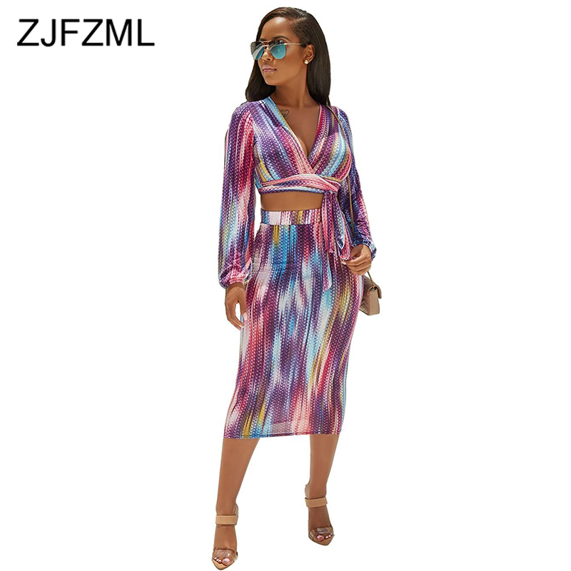 Sexy Rainbow Tie Dyeing Two Piece Skirt Set Women Deep V Neck Long Sleeve Crop Tops And Skinny Long Pencil Skirt Sweat Suits