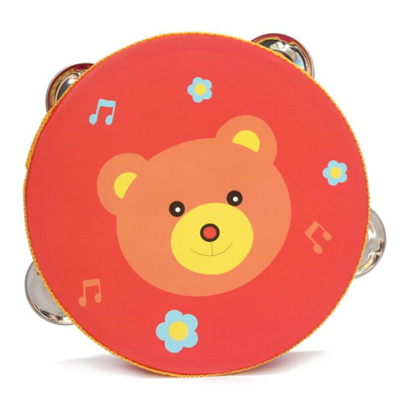 15cm Cartoon Wooden Drum Handheld Tambourine Freestyle Hand Bell Musical Percussion Instrument for family Party child Tambourine
