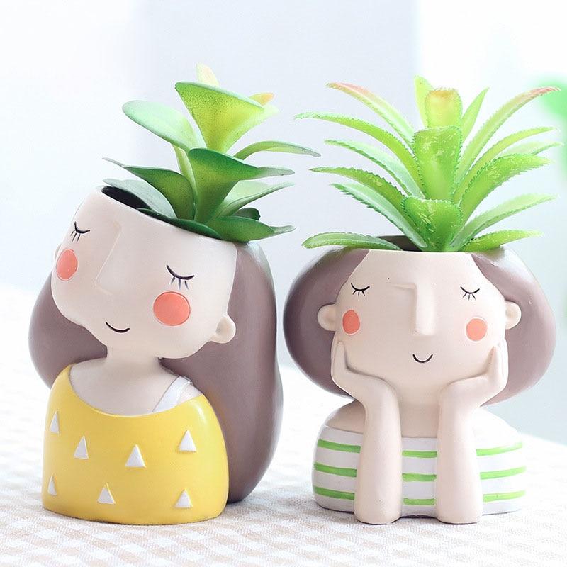 Симпатичный цветочный горшок для девушек искусственная керамика