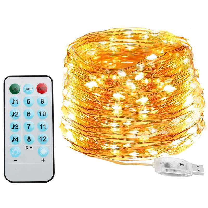5M Music Control Led Light Chain Copper Wire Led String Lights 12 Modes Holiday Fairy Lights With Remote For Christmas Wedding