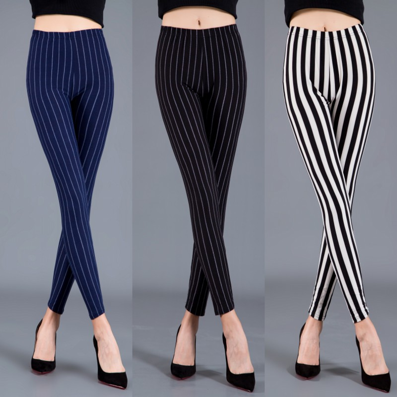 Women Plaid Leggings Fashion Printing Fitness Houndstooth Floral Stripe Dot Leopard Pure Black Trouser High Waist Pants 1
