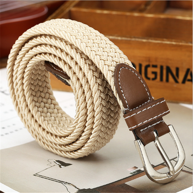 6 Colors Men Women Fashion Braided Elastic Woven Canvas Buckle Belt Waistband Waist Straps All-matched