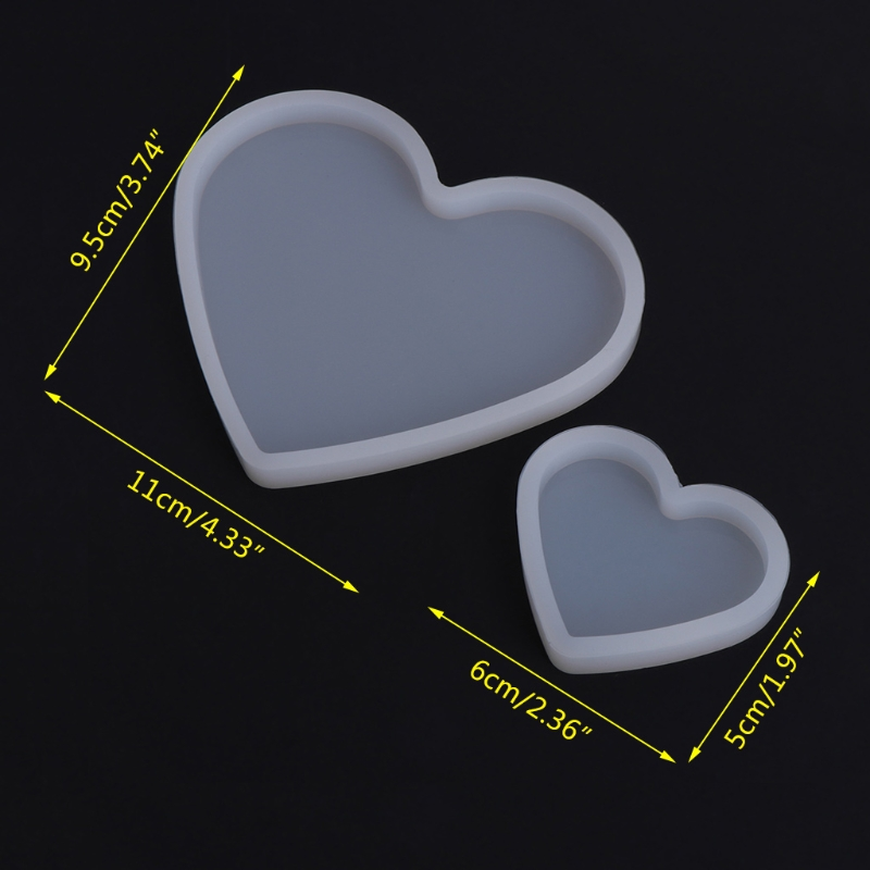 Silicone Mold Heart Shape Epoxy Resin DIY Jewelry Making Crafts Cake Decorations