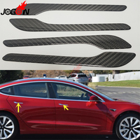Car Accessories For Tesla Model 3 2017 2018 2019 Real Carbon Fiber Side Door Handle Stickers Decoration & Protector Cover Trim