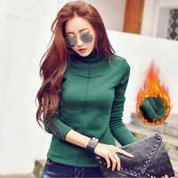 Camiseta gruesa de lana para mujer, cuello alto, manga larga, Tops femeninos de algodón de talla grande, S-3XL, camiseta de invierno, ropa para mujer T89708
