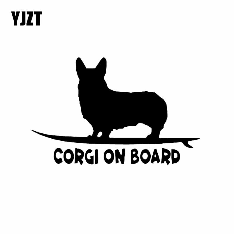 YJZT 14.8X9.5CM Corgi On Board Puppy Funny Dog Vinyl Decal Car Sticker Window Decor Black/Silver C24-1628