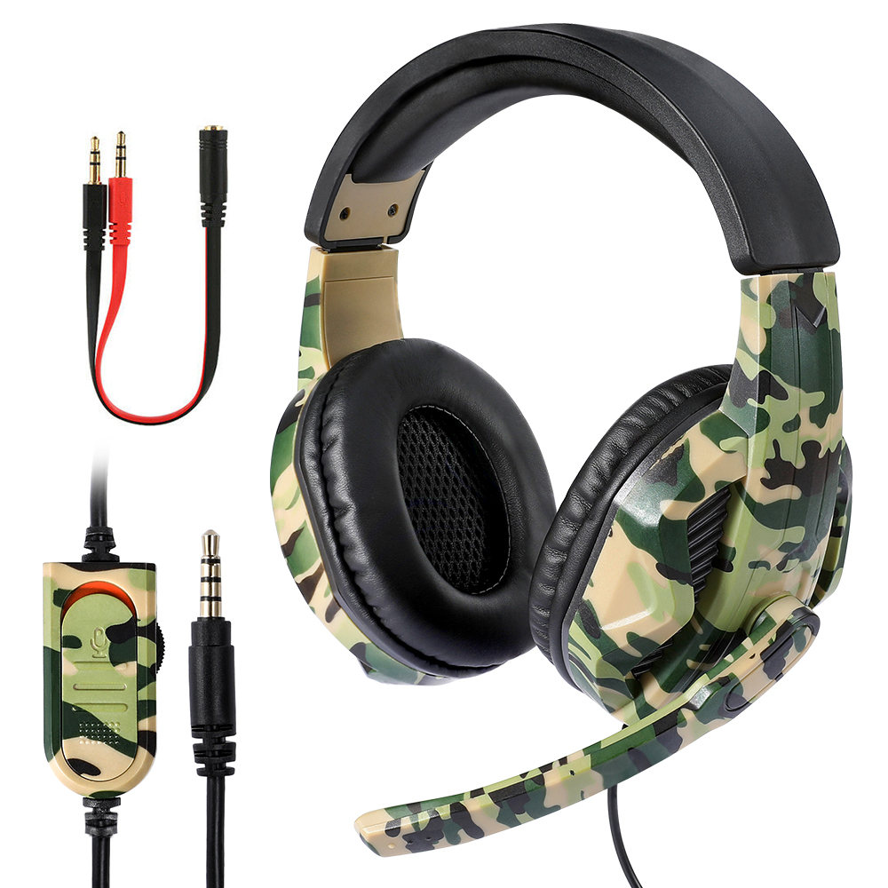 3 5mm Gaming Headsets Camouflage HD Stereo No Noise Head-mounted Professional Gamer Headphones for PS4 PS3 Xbox Switch Computer