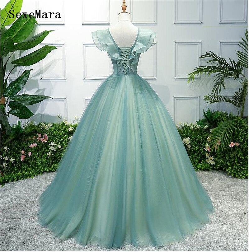 Saoudien arabe vert a-ligne v-cou robe de soirée longues robes de bal 2019 robes de soirée élégantes - 2
