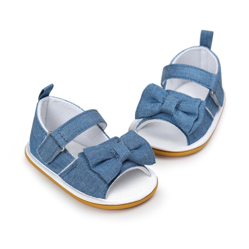 Little Princess Baby Girls Shoes Infant Toddler Crib Bebe First Walkers Canvas Striped Big Bow Soft Soled Anti-Slip Shoes