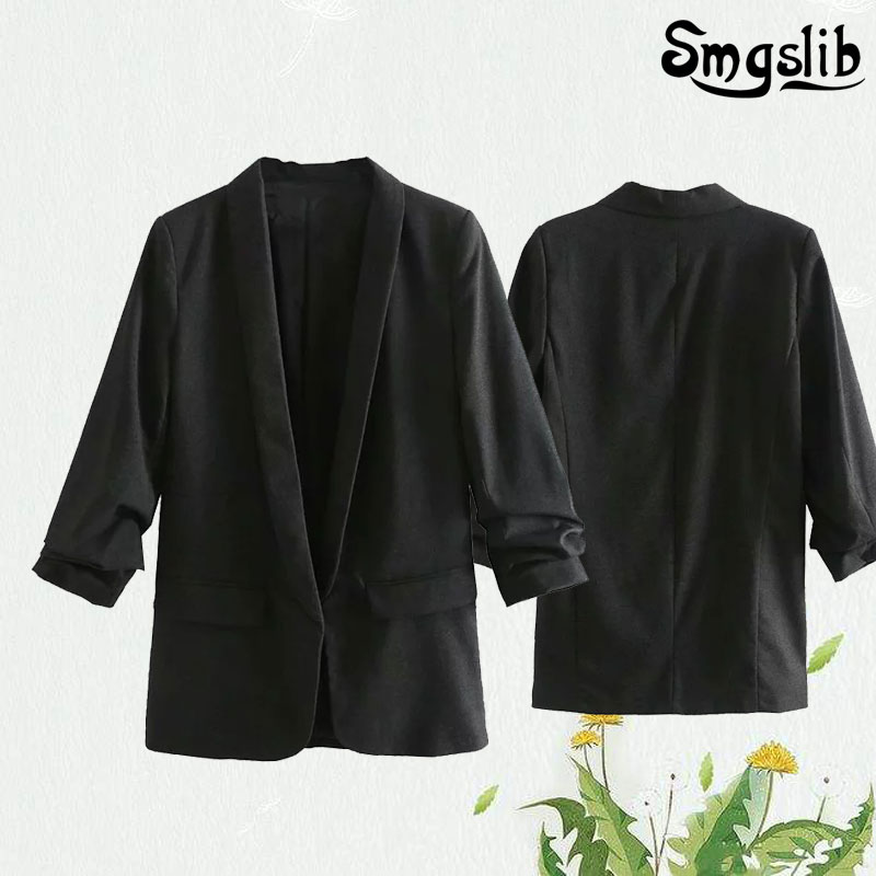 england style office lady blazer solid roll up sleeve feminino women mujer 2019 blazers and jackets