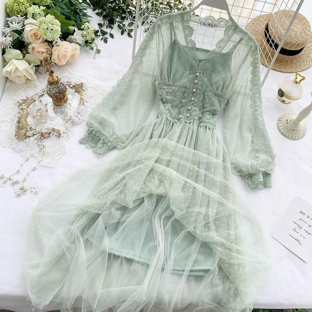 Lace Floral V Neck Long Sleeves  Polka Dot Pearls Sweet Mesh Dress 4