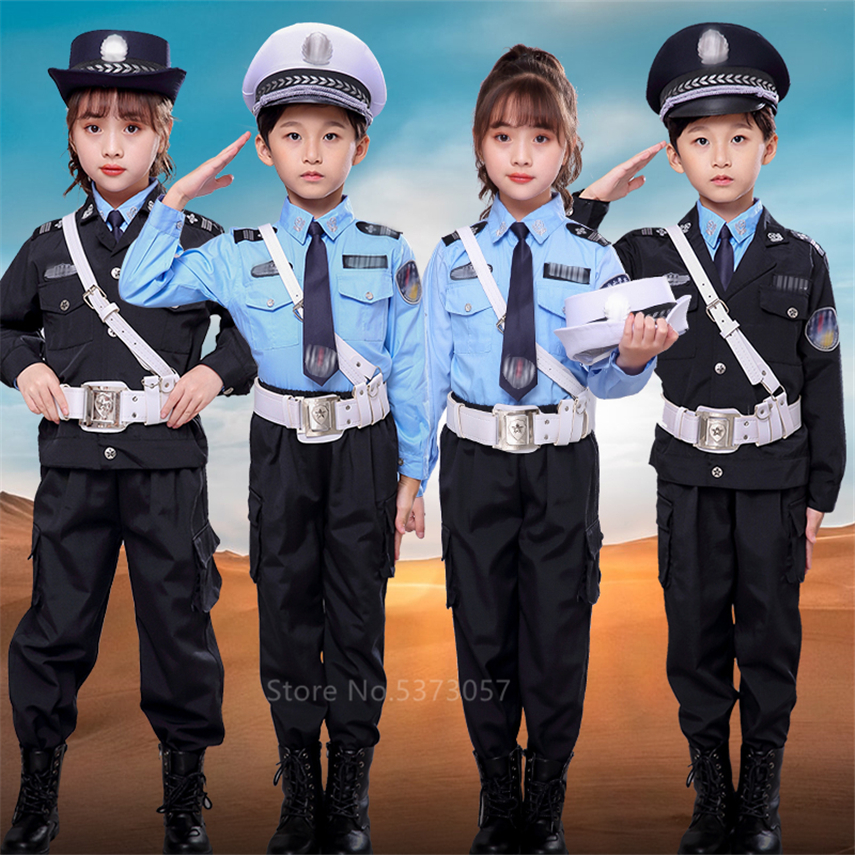 Tiny Cop Kids Army Suit Cosplay Girl Boy Fancy Costume Halloween Cosplay Traffic Police Uniform  Carnival Party Special Force